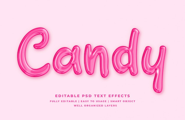 Text-arteffekt der süßigkeit 3d