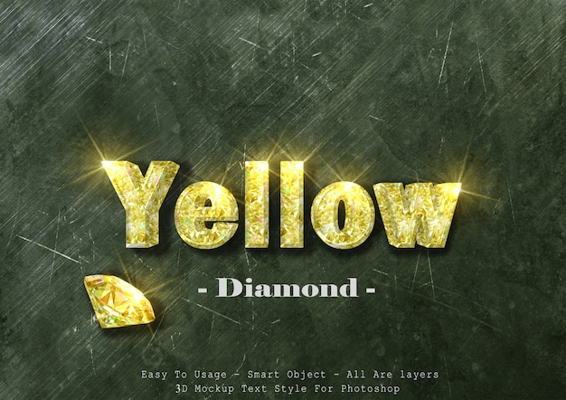 Text-arteffekt des gelben diamanten 3d