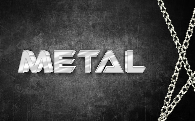 Text-arteffekt des metall 3d