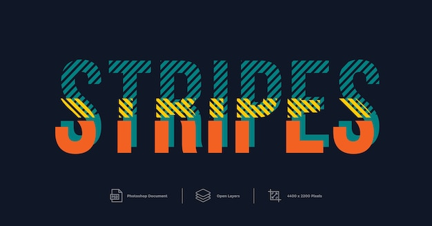 Text effect design stripes style