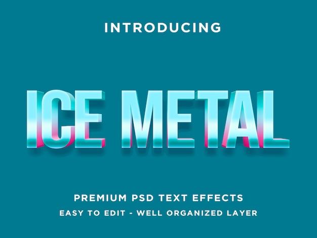 Text-effekt-schablone psd des eis-metall-3d