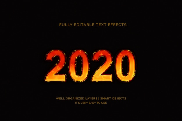 Texteffekt des neuen jahres 2020