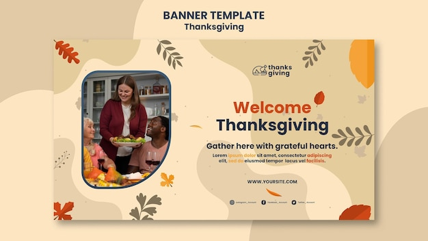 Thanksgiving day banner vorlage mit blättern