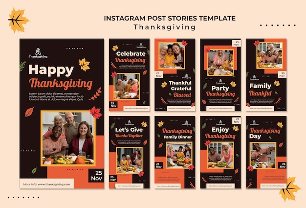 Thanksgiving-design-vorlage von instagram-geschichten