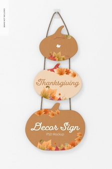 Thanksgiving wall decor sign mockup, vorderansicht