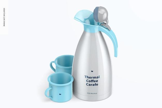 Thermo-kaffeekaraffe mockup, isometrische ansicht