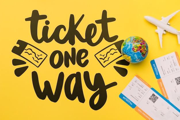 Ticket one way, inspirierender schriftzug zum thema reisen