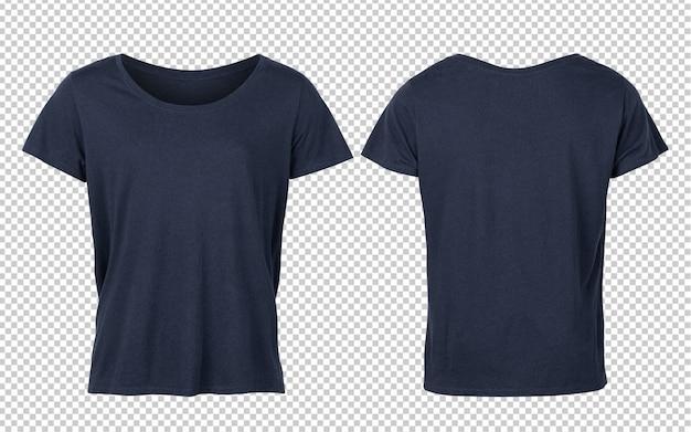 Tiefblaue frau t-shirts vorder- und rückseite modell
