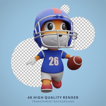 Tiertiger american football-spieler 3d niedliche charakter-ilustration