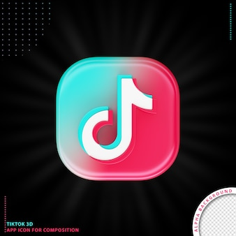 Tiktok 3d aplication icon Kostenlosen PSD