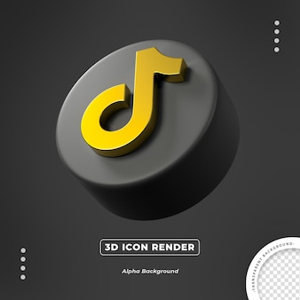 Tiktok gold 3d seite symbol isoliert rendern