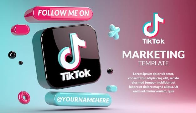 Tiktok-logo-modell, umgeben von geometrischen objekten in 3d-rendering