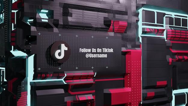 Tiktok social media folgt uns mit 3d future neon technology wall background