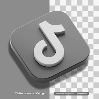 Tiktok video-sharing-app-konto 3d-render-icon-konzept in isometrisch transparent