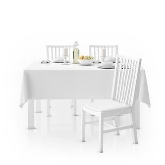 Tisch mit tischdecke, geschirr und stühlen