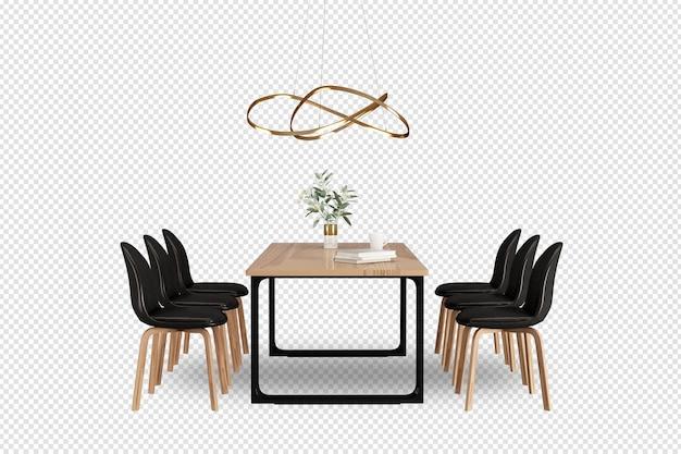 Tisch und stühle in 3d-rendering