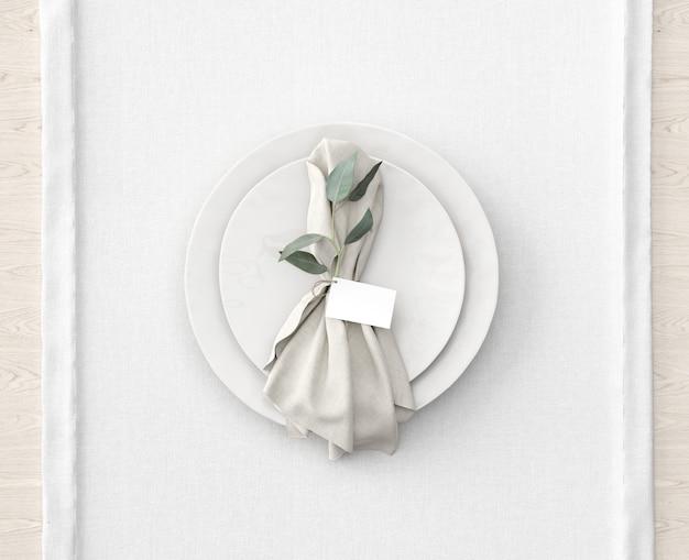 Tischdekoration auf weißer matte