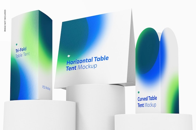 Tischzeltkarten-szenenmodell, low angle view
