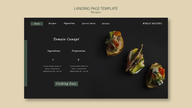 Tomato canape landing page web-vorlage