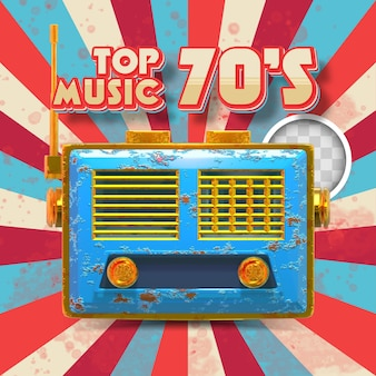 Top 70er musik. 3d-darstellung