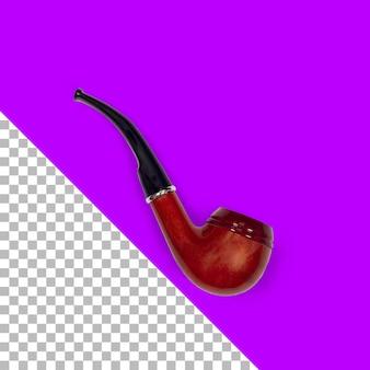 Top-up-ansicht isolierte hölzerne tabakpfeife