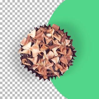 Top-up-ansicht isolierte schokoladen-tasse-kuchen