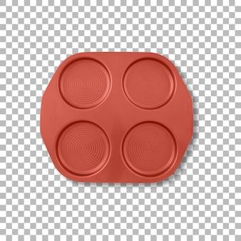 Top-up-ansicht roter kuchenform mit transparenz isoliert.