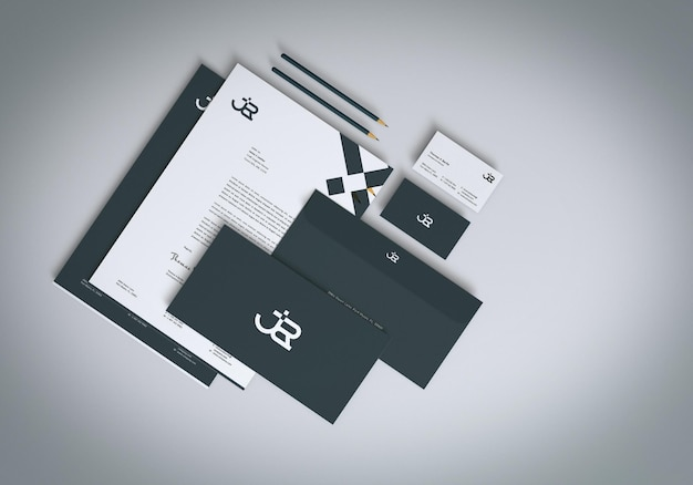 Top view realistisches briefpapier set mockup design Premium PSD