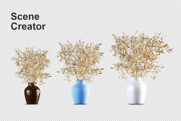 Topfpflanzen in der 3d-darstellung isoliert