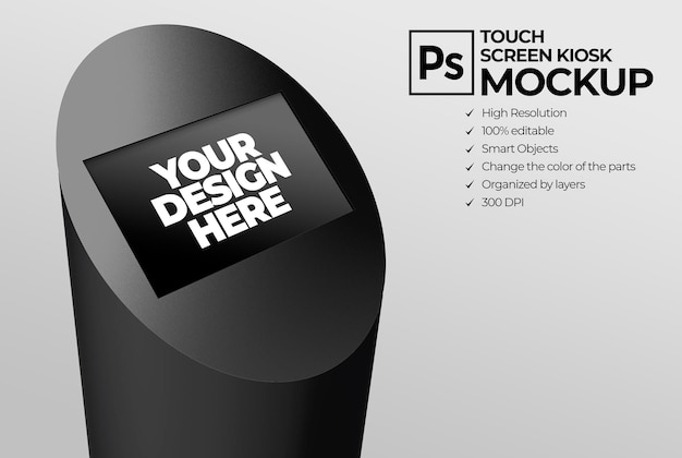 Touchscreen-kiosk-display mockup