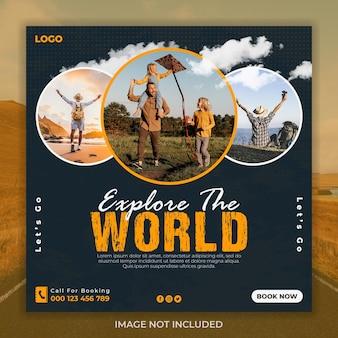 Touren und reisen social-media-instagram-post-banner-vorlage