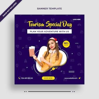 Tourismus sondertag instagram banner oder social media post vorlage