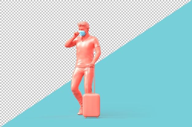Tourist in medizinischer maske mit koffer. 3d-darstellung