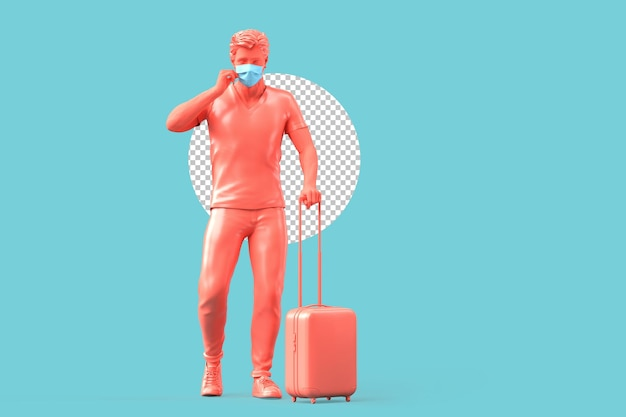 Tourist in medizinischer maske mit koffer. pandemie-reisekonzept. 3d-rendering