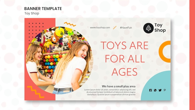 Toy store konzept banner vorlage