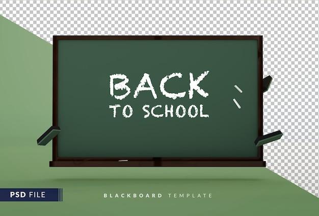 Traditionelle schultafel mit kopierraum ein 3d-konzept zurück zur schule
