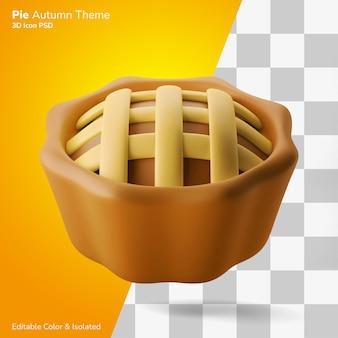 Traditionelle torte kuchen herbstparty 3d-darstellung-rendering-symbol editierbar isoliert