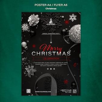Traditionelle vertikale weihnachtsdruckvorlage