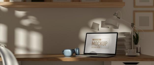 Tragbarer 3d-rendering-arbeitsbereich mit laptop