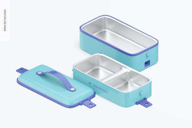 Tragbares elektrisches lunchbox-modell, isometrische ansicht von rechts