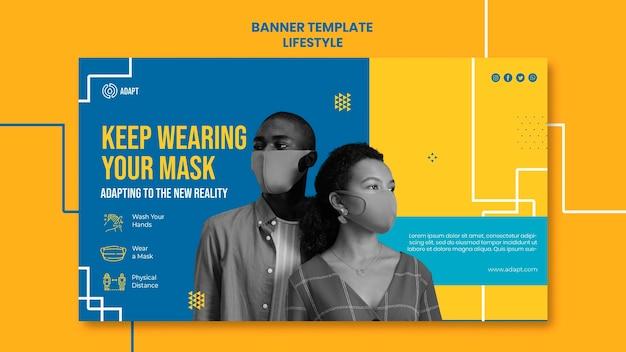 Tragen sie weiterhin eine maskenbanner-vorlage