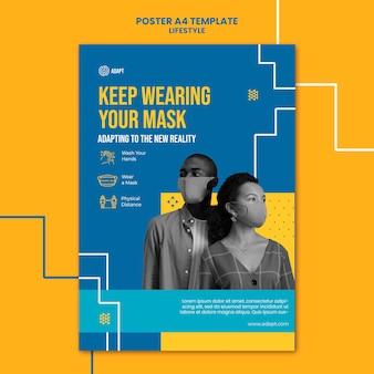 Tragen sie weiterhin maskenplakatschablone