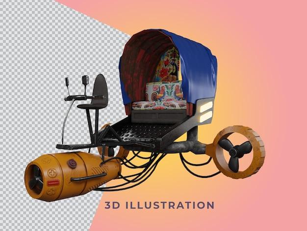 Transparente 3d-gerenderte rikscha-illustration