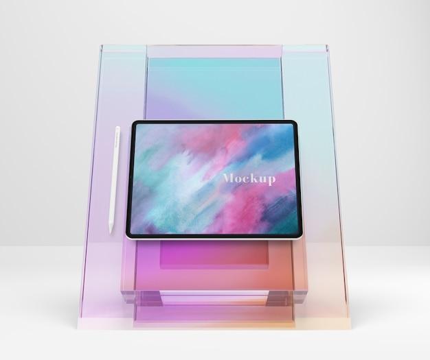 Transparente glas-mock-up-tablet-unterstützung