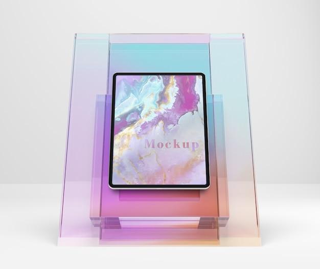 Transparente glashalterung für tablets