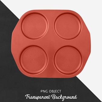 Transparente rote runde pfannkuchenschale