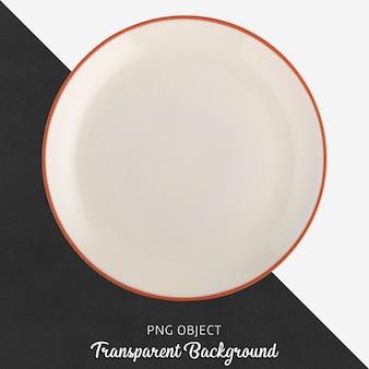 Transparente weiße keramik- oder porzellan-rundplatte
