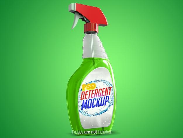 Transparenter reinigungs-spray verließ perspektivische ansicht