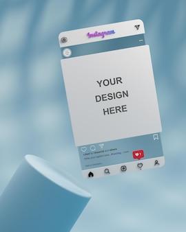 Transparentes glas instagram social media post mockup präsentation 3d-rendering