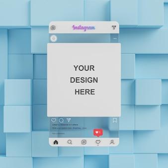 Transparentes glas instagram social media post mockup präsentation blauer hintergrund 3d-rendering
